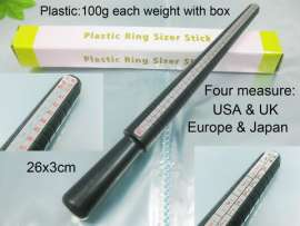Black Plastic-Ring-Sizer Stick--4 Measure